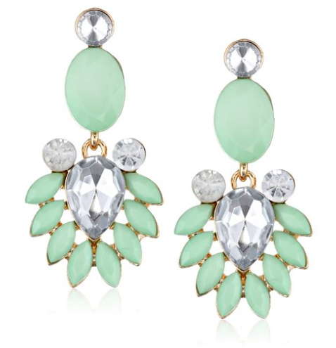 mint green statement earrings