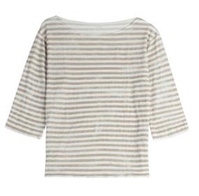 3/4 sleeve striped tee