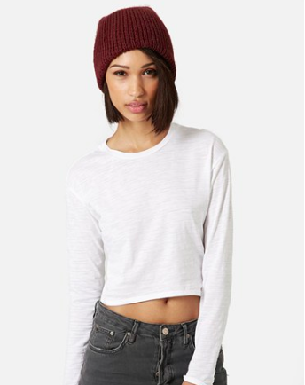 Topshop long sleeved crop white tee