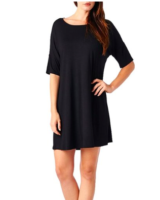 Basic Round Neck Short Sleeves Mini Dress