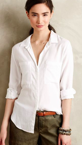 Anthropologie white button down
