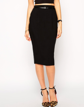Asos black midi pencil skirt
