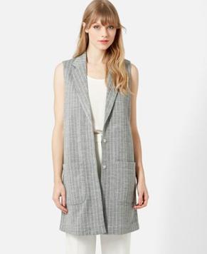 Topshop long pinstripe vest