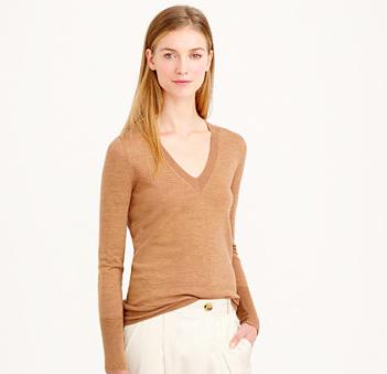 J.Crew tan v-neck sweater
