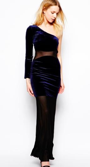 Asos maxi velvet sheer dress