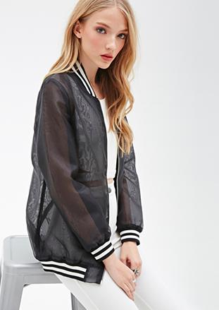 Forever 21 sheer varsity jacket
