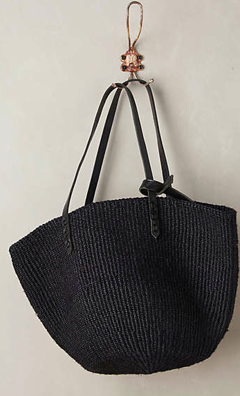 Anthropologie black straw tote