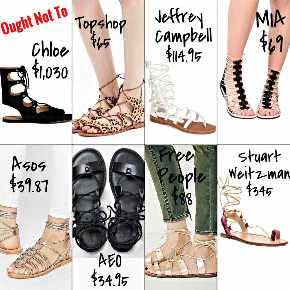 Affordable short gladiator sandals