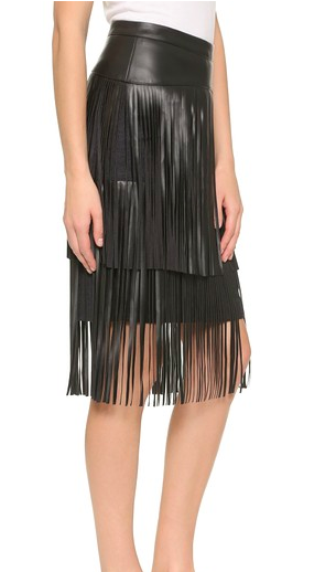 BCBG leather fringe skirt