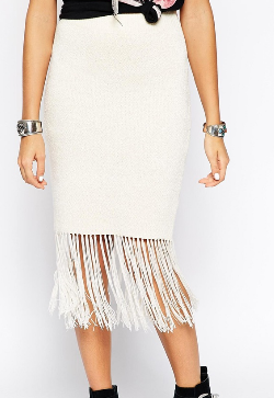 Asos white fringe skirt