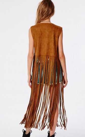 Missguided long fringe vest