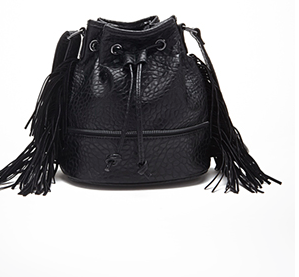 Forever 21 black fringe bucket bag