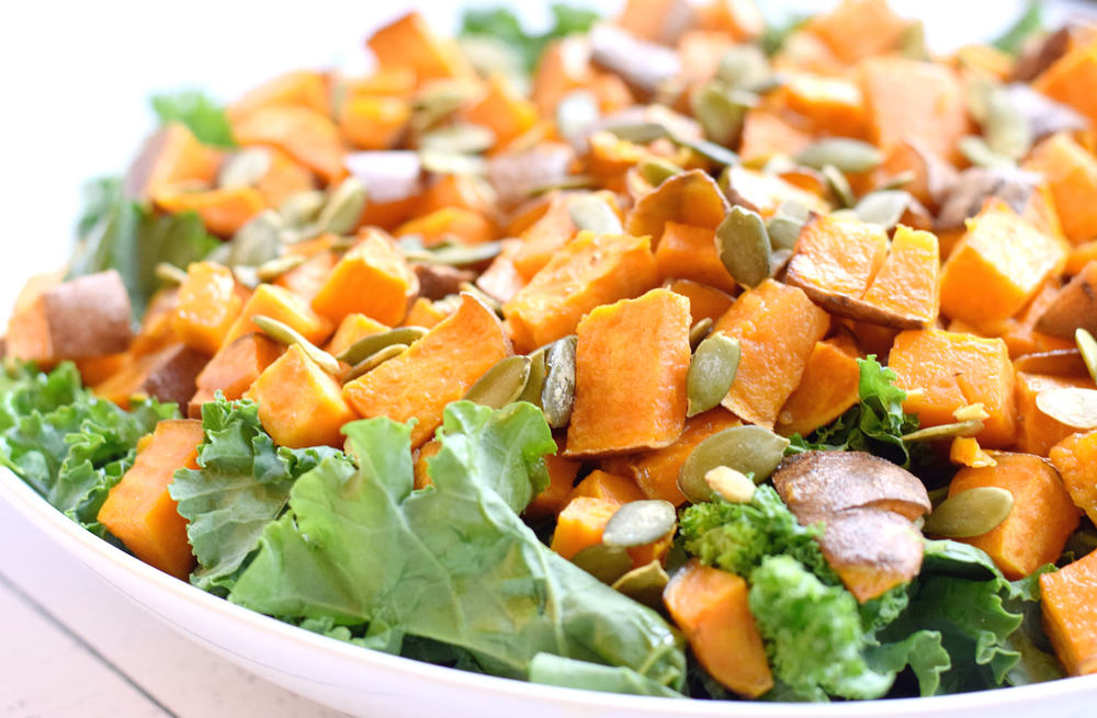 Kale Sweet Potato Tahini Salad – easy, delicious, wholesome, flavorful kale salad with a perfect tahini dressing. My new favorite salad! | trufflesandtrends.com