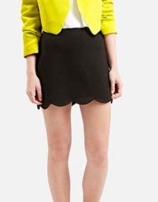 Topshop black mini scalloped skirt