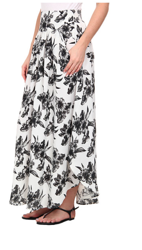 Black and white floral maxi skirt