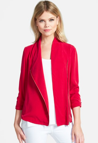 Trouve red draped jacket