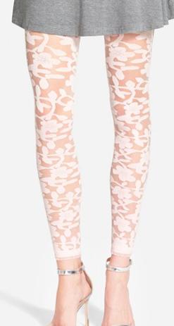 Nordstrom cream flower tights