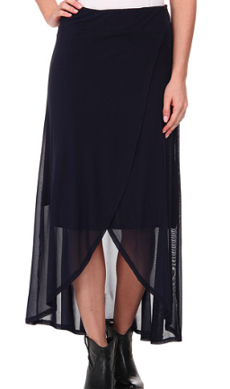 Roper 9614 Solid Mesh Faux Wrap Skirt