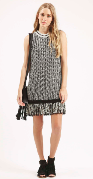 Topshop ribbed fringe dress