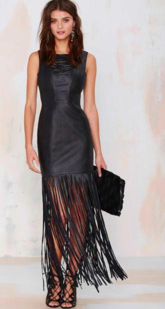 Nasty Gal leather fringe dress