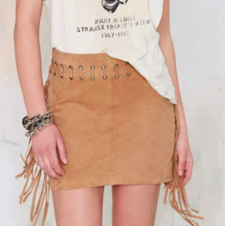 Nasty Gal mini suede fringe skirt