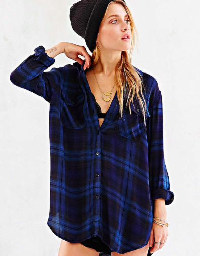 Urban Outfitters blue flannel shirt
