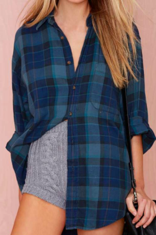 Nasty Gal plaid flannel button down