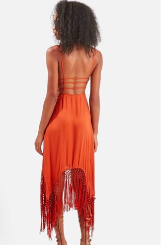 Topshop maxi fringe dress