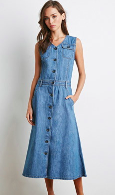 Forever 21 midi denim dress