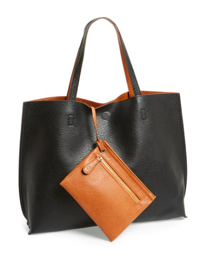 Street level vegan leather tote