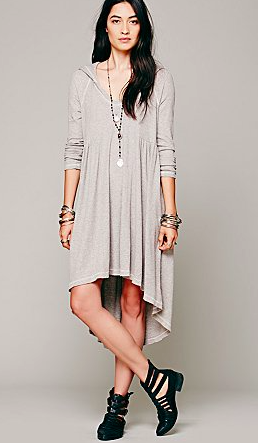 Free People hooded grey dress