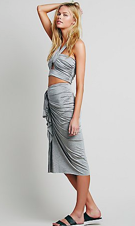 Free People grey top and skirt set