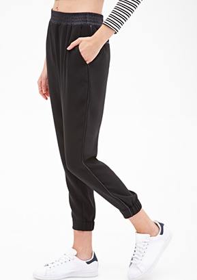 Forever 21 leather trim joggers