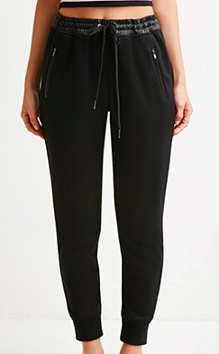 Forever 21 leather trim sweatpants