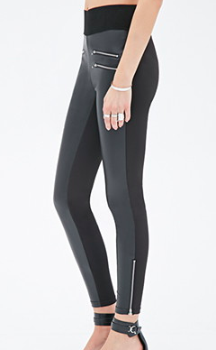 Forever 21 paneled leather leggings