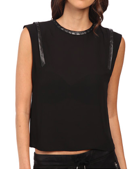 The Kooples leather trim blouse