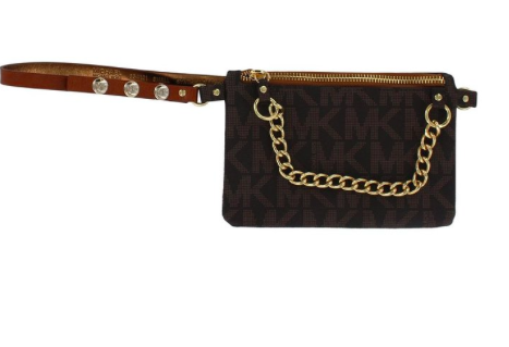 Michael Kors Womens Chain Zip PVC Faux Leather Logo Belt Bag