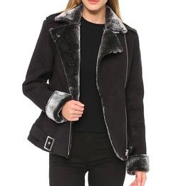 Minkpink shearling moto jacket