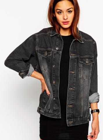 Asos oversized black denim jacket