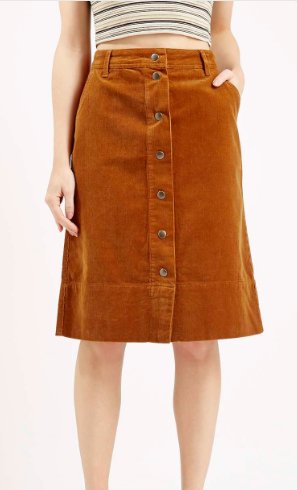 Topshop Cord midi skirt