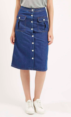 Topshop denim button midi skirt