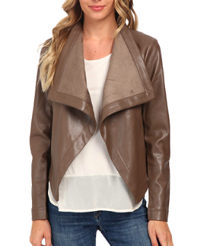 BB Dakota drape vegan leather jacket