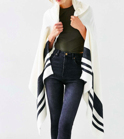 Urban Outfitters striped poncho