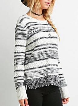 Forever 21 fringed knit sweater
