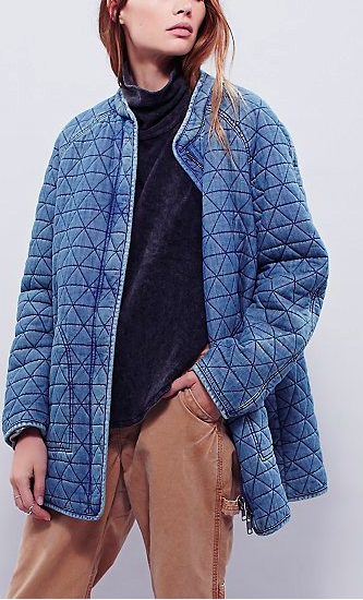 Free People Long Quilted Jacket