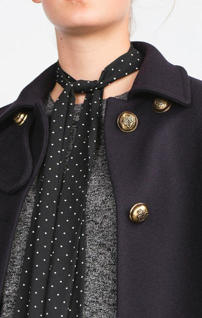 Zara dotted skinny scarf