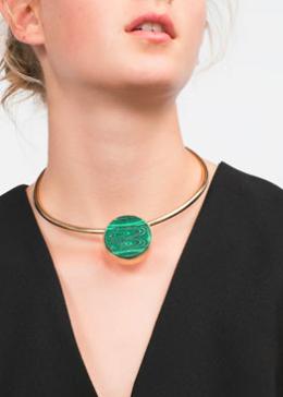 Zara green stone choker