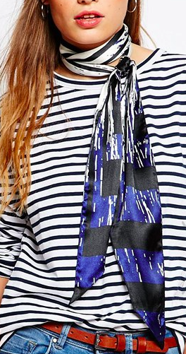 Pieces striped skinny scarf