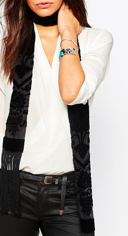 Jayley Cira Silk Devore Skinny Scarf