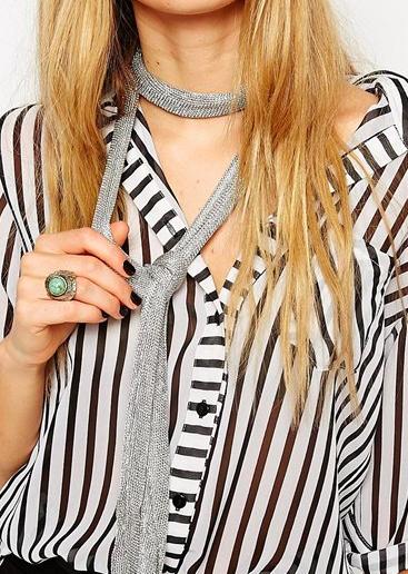 Asos metallic skinny scarf